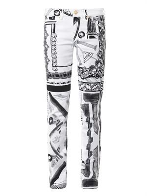 Iconic contrast-print mid-rise skinny jeans