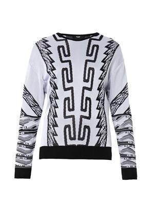 Iconic contrast-jacquard sweater