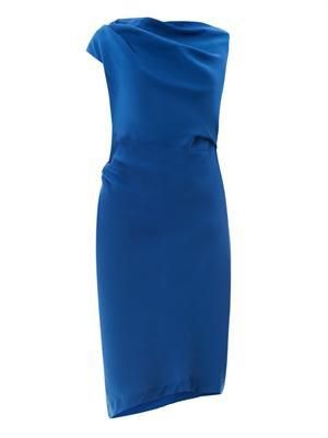 Drape-front fitted dress