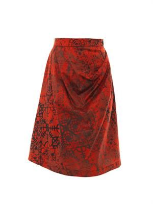 Survival Stave lace-print skirt