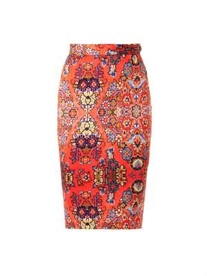 Dynasty-print pencil skirt