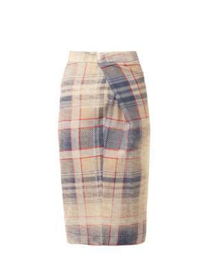 Isolation faded-tartan wool skirt