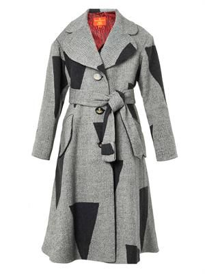 Single-breasted patchwork wool-blend coat