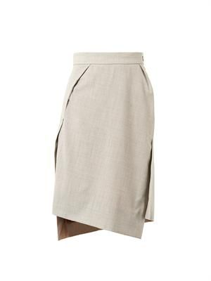 Pleat-detail pencil skirt