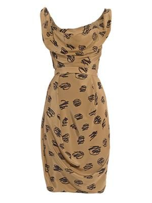 Corseted printed faille dress