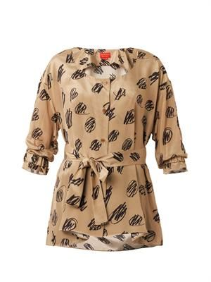 Scribble-print silk shirt
