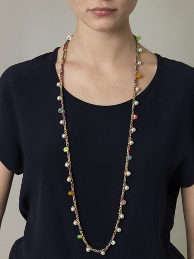 Venessa Arizaga Plaited-cord and pearl embellished necklace