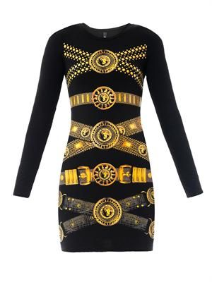 Chain-print bodycon dress