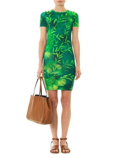 Versus Forest-print jersey dress