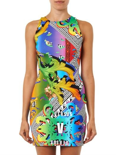 Versus Contrast Iconic-print neoprene dress