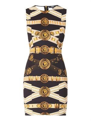 Iconic belt-print scuba dress