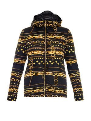 Chain-print hooded jacket