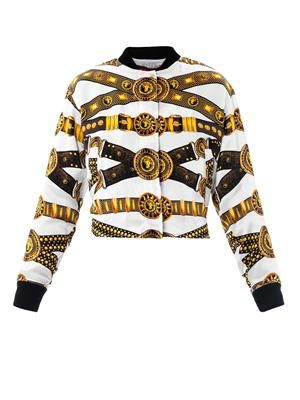 Chain-print silk bomber jacket