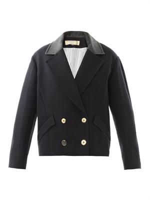 Contrast-collar double-breasted coat