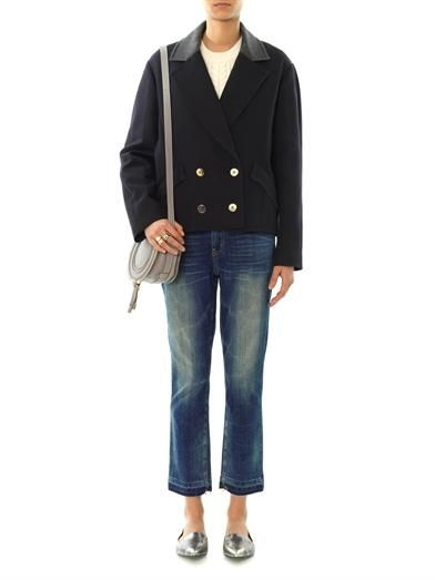 Vanessa Bruno Athé Contrast-collar double-breasted coat