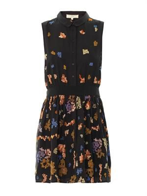 Pixel-embroidered sleeveless dress