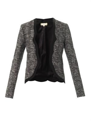 Melange tweed open jacket