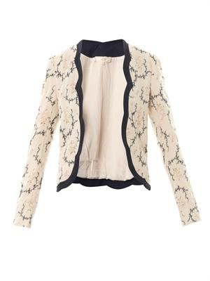 Floral cotton-blend open jacket