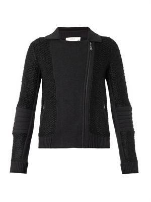 Textured bouclé biker jacket
