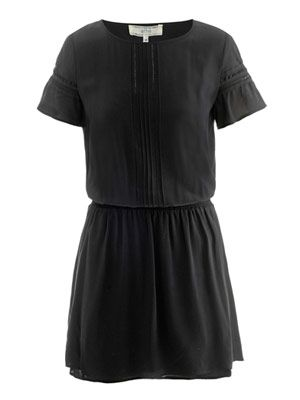 Pin-tuck silk dress
