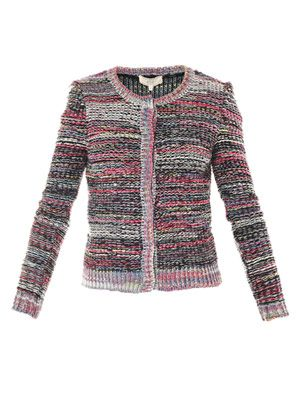 Melange knit stripe cardigan