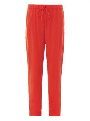 Tuxedo-stripe crepe jogging trousers