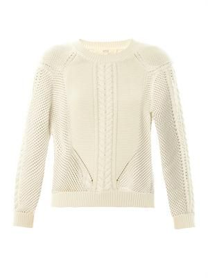 Mulit-knit cotton and wool-blend sweater