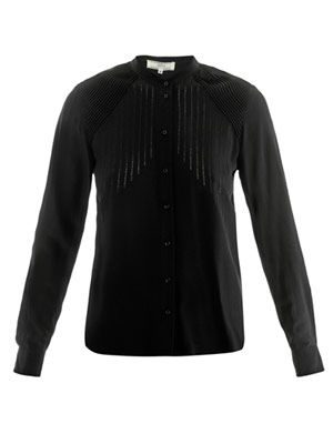 Pin-tuck silk blouse