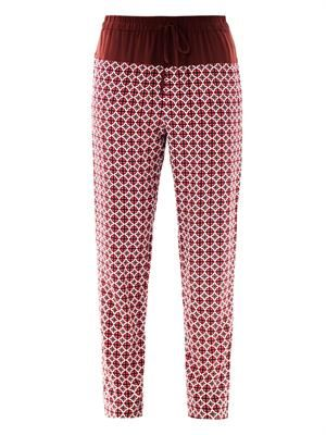 Foulard-print silk trousers