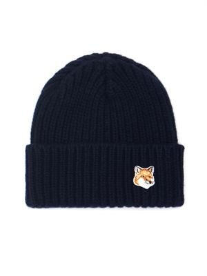 Fox-embroidered ribbed-knit beanie