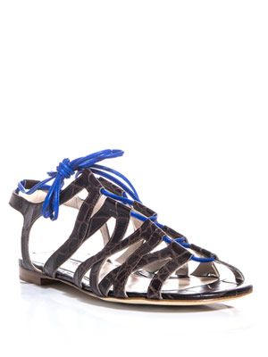 Laced-front leather sandals