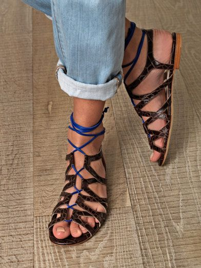 Duccio Venturi Laced-front leather sandals