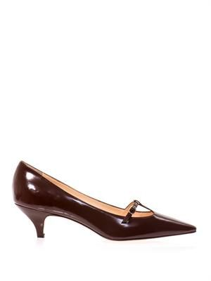 Point-toe Mary Jane pumps