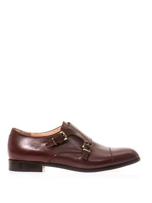 Double monk strap leather brogues
