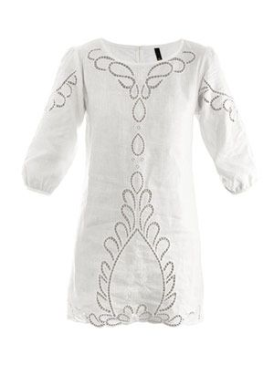 Cut-out linen kaftan