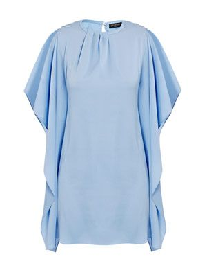 Drape-sleeve silk dress