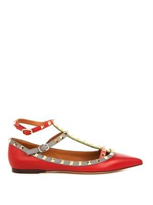 Rockstud leather flats