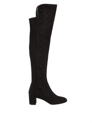 Rockstud suede over-the-knee boots