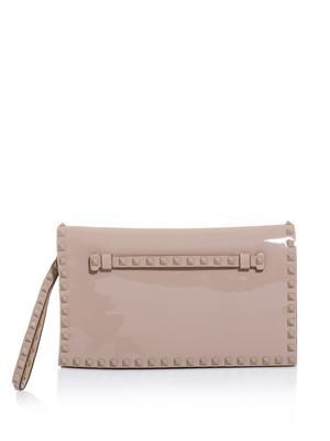 The Rockstud patent leather clutch