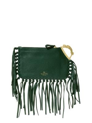 Gryphon-handle fringed leather clutch
