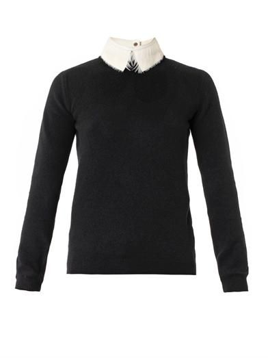 Valentino Feather and leather-collar sweater