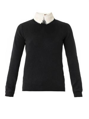 Feather and leather-collar sweater
