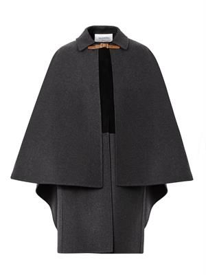 Layered wool and suede cape coat