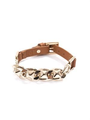 Studded chain and leather bracelet