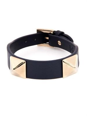 Rockstud navy leather bracelet