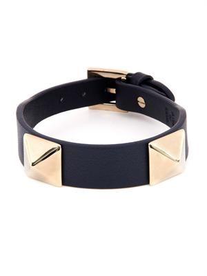 Rockstud navy leather bracelet