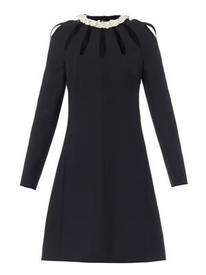 Leather-collar wool-blend dress