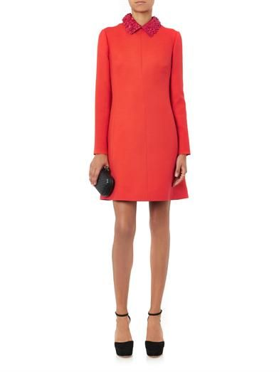 Valentino Leather-collar crepe dress