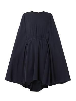 Cape-back silk-crepe dress