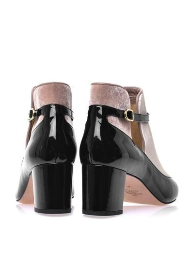 Valentino Patent-leather and velvet T-bar boots